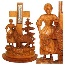 "Charming Antique Black Forest Thermometer Stand, Woman & Lamb, ""Souvenir a Amelie-les Bains"""