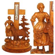 "Charming Antique Black Forest Thermometer Stand, Woman & Lamb, ""Souvenir a Amelie-les Bains"""