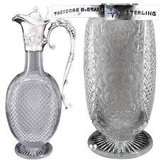 "Antique Theodore B. Starr Sterling Silver & Cut Crystal 12.5"" Claret Jug, Grapes & Foliage Motif"
