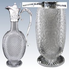 "Antique Theodore B. Starr Sterling Silver & Cut Crystal 12.5"" Claret Jug, Grapes & Foliage Motif"