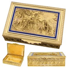 "Antique French Gilt Bronze 5"" Jewel Casket, a Lovely Box with Figural Bas Relief & Enamel Accenting"
