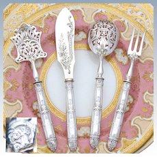 "Antique French Sterling Silver 4pc Hors d'Oeuvre Serving Set, Gothic ""Fer de Lance"" Pattern, ""HG"" Monograms"