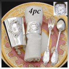 "Antique French Sterling Silver 4pc Christening Set: Tumbler, Napkin Ring, Fork & Spoon, ""Marcel"" Inscription"