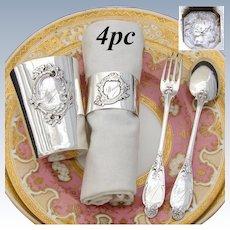 "Antique French Sterling Silver 4pc Christening Set: Tumbler, Napkin Ring, Fork & Spoon, ""Marcel"" Inscription"