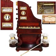 Rare Antique French Musical Double Inkwell & Perpetual Calendar, Upright Grand Piano Shape