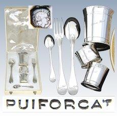 "PUIFORCAT Vintage French Sterling Silver 6pc Christening Set: Tumbler, Napkin Ring, Flatware, ""Jean Paul"""