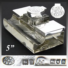 "Elegant Large Antique English Sterling Silver & Cut Crystal 5"" Inkwell, Dual Stamp Boxes"