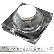 """Fabulous Antique Black, Starr & Frost Sterling Silver & Intaglio Etched Glass 5"""" Inkwell"""