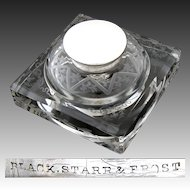 "Fabulous Antique Black, Starr & Frost Sterling Silver & Intaglio Etched Glass 5"" Inkwell"