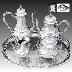 Gorgeous Antique French Sterling Silver 4pc Coffee & Tea Set, Ornate Louis XV or Empire Style