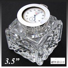 "Rare Antique English Brilliant Cut Crystal & Sterling Silver 3.5"" Inkwell, Facet Cut, Pocket Watch Holder Top"