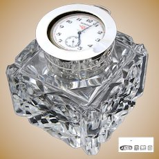 """Rare Antique English Brilliant Cut Crystal & Sterling Silver 3.5"""" Inkwell, Facet Cut, Pocket Watch Holder Top"""