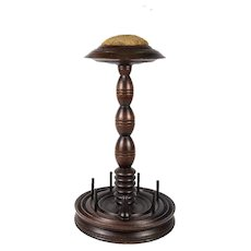 Antique Victorian Thread Spool Stand, Pin Needle Cushion, Turned Wood