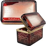 Superb Antique Bohemian Ruby Flash & Wheel Engraved Spa or Souvenir Box, Casket, Sugar Chest