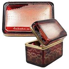 Superb Antique Bohemian Ruby Flash & Wheel Engraved Spa or Souvenir Box, Casket, Sugar Chest