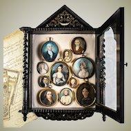 Petite Antique French Wall Cabinet, Napoleon III Boulle & Ebony, Opulent, RARE!