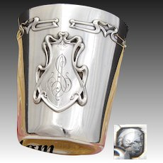 "Antique French Sterling Silver Art Nouveau Wine or Mint Julep Cup, Tumbler ""Timbale"", ""AS"" Monogram"