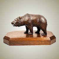 "Antique HC Black Forest Bull Bear, 8+"" on 12"" Wood Plinth, 19th c. Animalier Movement"