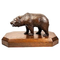 "Antique HC Black Forest Bull Bear, 8+"" on 12"" Wood Plinth, 19th c. Animalier Movement"