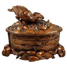 Antique H C Black Forest Animalier Sculpture, Carving of a Duck, Jewelry Box, Casket