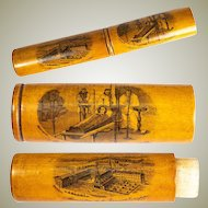 Antique French Billet Doux, Wood Transfer, Etui for Love Notes in 1800s, Treen Trappists Souvenir