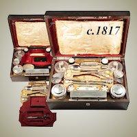 Very RARE c.1817 Antique French Palais Royal Nécessaire de Voyage, Vanity Set, Sterling Silver, NAUDIN