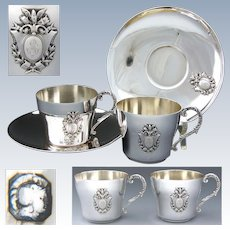 PAIR of Antique French Sterling Silver Tea Cup & Saucer Set, 4pc, Empire Bird, Torch & Arrows