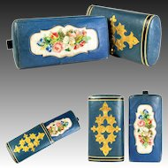 Antique French Cigar or Spectacles Case, Leather and Silk Embroidery, Petitpoint