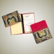 Ornate Antique Italian Gilt Embossed Leather Calling or Business Card Case, Etui, Carnet Bal