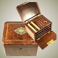 Antique French Cigar Chest, Presentation Box, Fitted Shelves, Napoleon III, Victorian