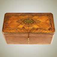 Antique French Box, Napoleon III Era Casket with Kingwood, Brass Boulle & MOP, Stringing
