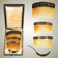 Antique Damascene Ornamental Hair Comb Tiara Set in Box, 4 pcs, Boiled Horn, Napoleon III, c.1850-70