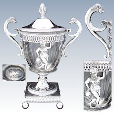 Antique Napoleonic French Sterling Silver Confiturier, Jam or Bonbon Caddy, Empire Style Figural c. 1798-1809