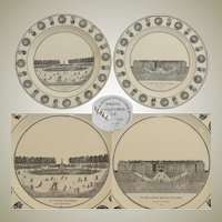 "Pair of Antique French Creil Faience 8 1/4"" Cabinet Plates, Paris Grand Tour Scenes"