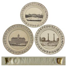 "Set of 3 Antique Montereau Faience 8 3/8"" Cabinet Plates, Grand Tour Architectural Scenes"