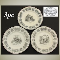"Set of 3 Antique French Creil Faience 8"" Cabinet Plates, Romanic Themed Figural Scenes"