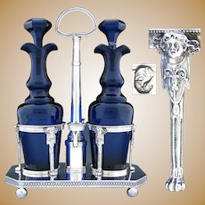 "Antique French Napoleonic Sterling Silver 11"" Oil & Vinegar Cruet Stand, Cobalt Glass Decanters"