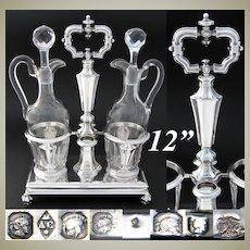 "Antique French Louis Philippe Era Sterling Silver 13.5"" Oil & Vinegar Cruet Stand"