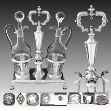 "Antique French Louis Philippe Era Sterling Silver 13.5"" Oil & Vinegar Cruet Stand"