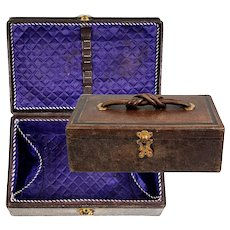 "Antique French Napoleon III Era (Victorian) 6.75"" Sewing Box, Leather & Silk"