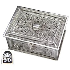 "Highly Intricate Antique Victorian Era Sterling Silver Filigree 3.25"" Jewel Casket, Box"