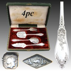 """Antique French Sterling Silver 4pc Hors d'Oeuvre Set, """"Louis XVI"""" Pattern with Musical Instruments"""