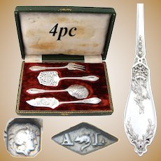 "Antique French Sterling Silver 4pc Hors d'Oeuvre Set, ""Louis XVI"" Pattern with Musical Instruments"
