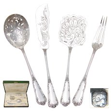Fine Antique French Sterling Silver 4pc Hors d'Oeuvre Implement Set, Boxed