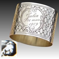 "Fab Antique French Sterling Silver 2"" Napkin Ring, Ornate: ""Julia 28 Mars, 1909"" Inscription"