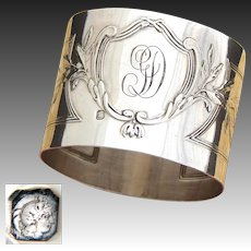 "Antique French Sterling Silver 2"" Napkin Ring, Elegant Louis XVI or Empire Pattern"