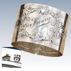 """Antique Continental .800 (nearly sterling) Silver 2"""" Napkin Ring, Empire Style, """"Henry"""" Inscription"""