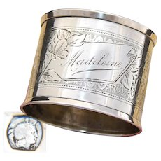 """Antique French Sterling Silver Napkin Ring, Guilloche Style Decoration, """"Madeleine"""" Inscription"""