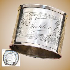 "Antique French Sterling Silver Napkin Ring, Guilloche Style Decoration, ""Madeleine"" Inscription"