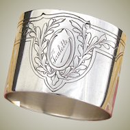 "Antique French Empire Style 2"" Napkin Ring, Quiver & Bugle, Laurel Framed ""Paulette"" Inscription"